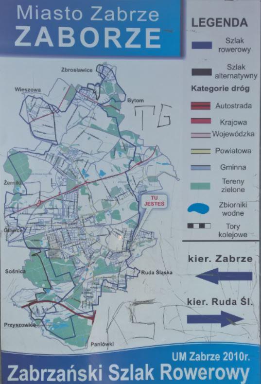 Zabrzański Szklak Rowerowy Zaborze - tablica informacyjna